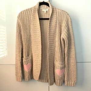 Jessica Simpson woman's sweater with heart pocket details size L